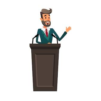 Młody polityk przemawia do opinii publicznej