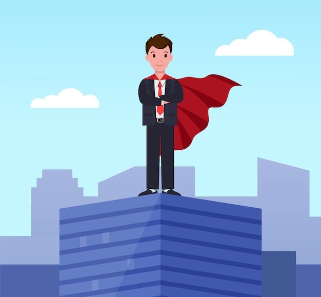 Młody pracownik wykonawczy supermana w płaszczu superbohatera