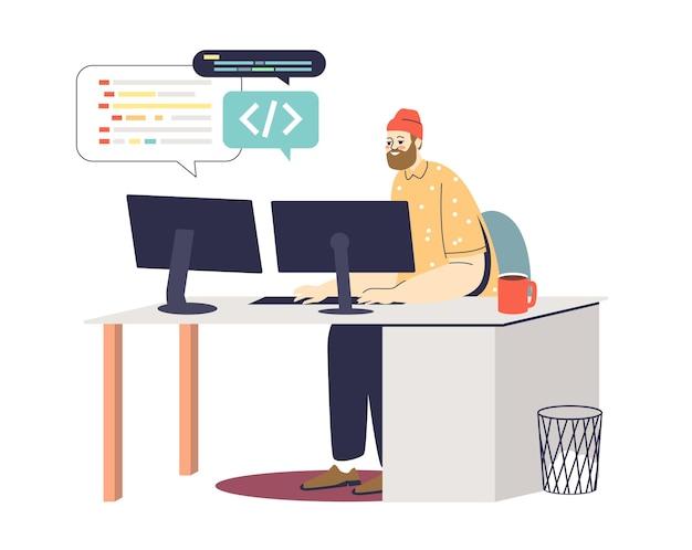 Młody programista w miejscu pracy kodujący i rozwijający nową aplikację lub stronę internetową na komputerze