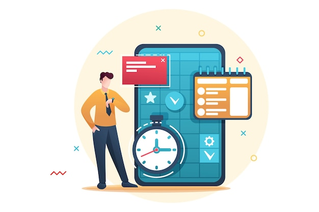 Młody przedsiębiorca planuje czas na biznes