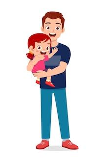 Młody przystojny ojciec nosi słodkie dziecko
