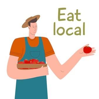 Młody rolnik ze świeżo warzywami w pudełku je lokalną żywność ekologiczną płaską koncepcję wektora ekologicznego ...
