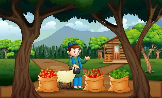 Młody rolnik ze zbiorami w worku