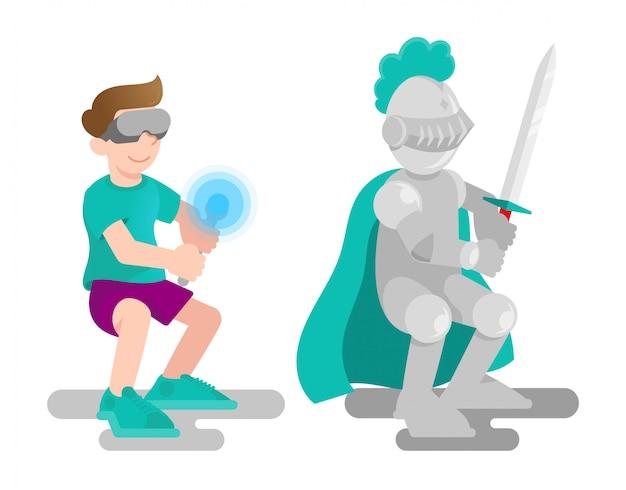 Młody słodki chłopiec w okularach wirtualnej rzeczywistości trzyma joystick jak ostry miecz do walki w wirtualnej średniowiecznej wojnie rycerskiej.