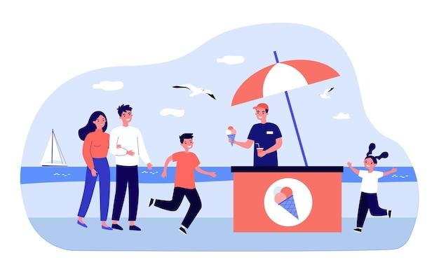 Młody sprzedawca sprzedający lody na plaży. ilustracja wektorowa płaski. szczęśliwe dzieci podbiegają po lody, para spacerująca wzdłuż nasypu. lato, kurort, deser, koncepcja ciepła do projektowania banerów