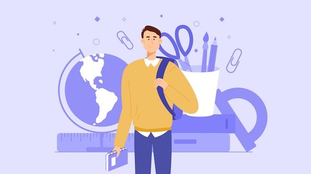 Młody student lub uczeń trzyma tornister i jest gotowy do rozpoczęcia nauki na uniwersytecie lub w szkole. artykuły szkolne są w tle