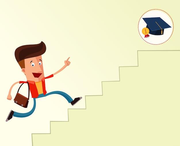 Młody student na schodach, aby osiągnąć ukończenie szkoły