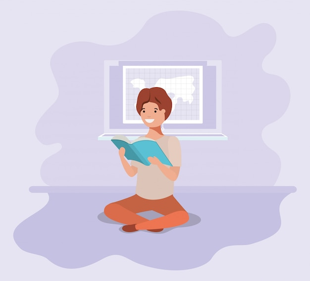 Młody student siedzi czytanie książki
