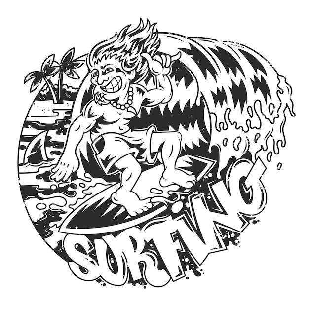 Młody szalony człowiek surfuje na dużej fali w pięknym miejscu. postać z kreskówki nowoczesnej ilustracji.