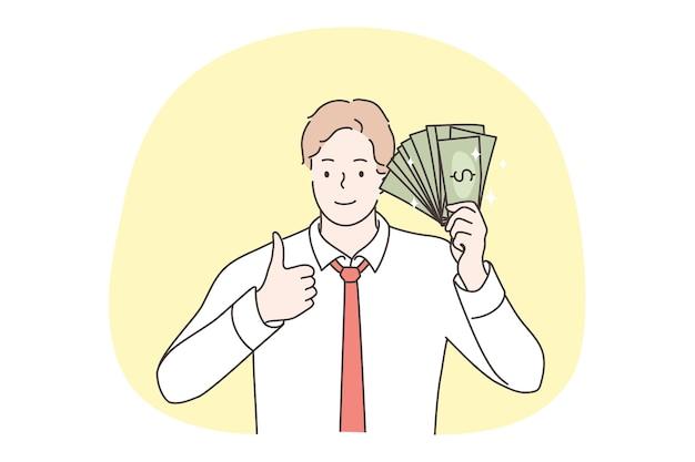 Młody szczęśliwy biznesmen trzyma dolara gotówkowego.
