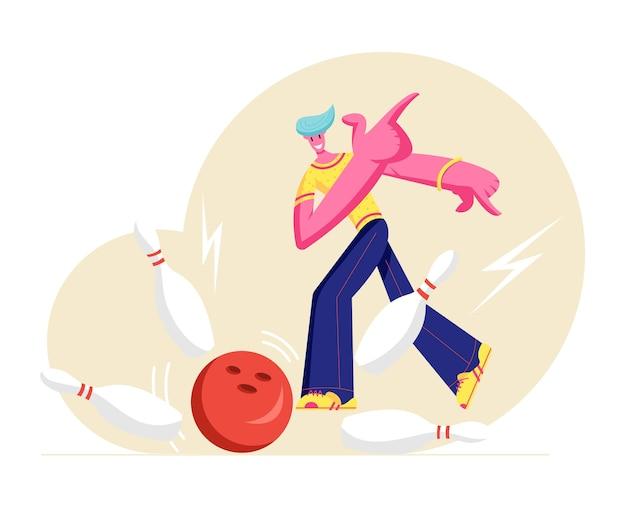 Młody szczęśliwy mężczyzna postać w codziennym ubraniu rzuca piłką uderzając w idealny strajk w kręgielni
