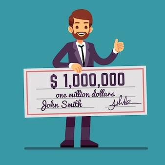 Młody szczęśliwy mężczyzna trzyma czek pieniężny na milion dolarów. wygrane w loterii pieniężnej i sukces wektor koncepcja