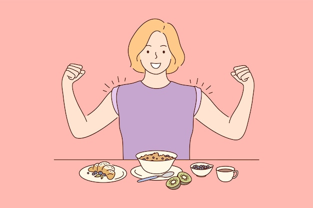 Młody szczęśliwy miling wesoła kobieta dziewczyna postać z kreskówki jedzenie śniadanie obiad obiad kolacja pokazując mięśnie. odchudzanie ilustracja zdrowego stylu życia.