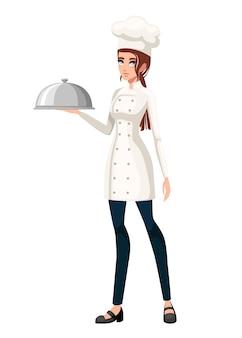Młody szef kuchni. szef kuchni kobiet.