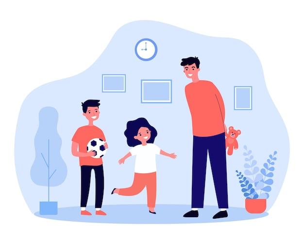 Młody tata daje prezenty swoim dzieciom. ilustracja wektorowa płaski. szczęśliwy chłopiec trzyma piłkę nożną, mężczyzna ukrywa misia za plecami dla dziewczyny. rodzina, dzieciństwo, prezent, wakacje, koncepcja niespodzianki