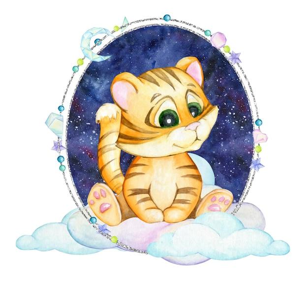 Młody tygrys, siedzący na chmurach, na tle nieba. srebrna ramka, na na białym tle.