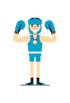 Młody uśmiechnięty bokser wygrywa złoty medal