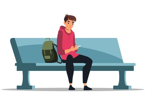 Młody uśmiechnięty człowiek charakter sobie modny strój z telefonu siedzi na ławce na białym tle
