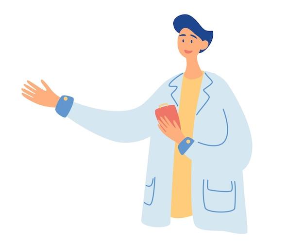Młody uśmiechnięty mężczyzna lekarz terapeuta w białym mundurze postać z kreskówki stojąc i pokazując. lekarz, medycyna, koncepcja opieki zdrowotnej. medicare, terapeuta, farmaceuta ilustracja wektorowa