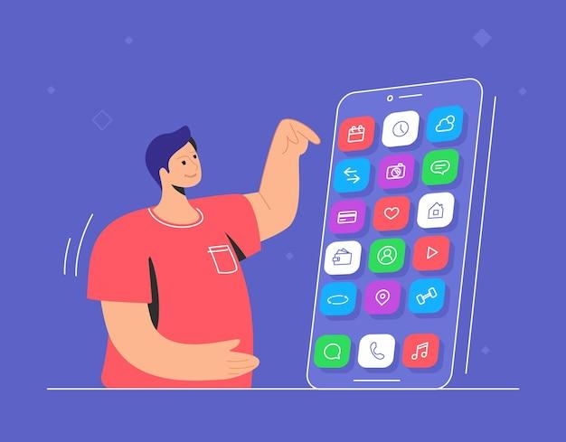 Młody uśmiechnięty mężczyzna wskazujący na swój duży smartfon, aby wybrać aplikację czatu, sieci społecznościowe, bankowość i inne inteligentne aplikacje mobilne. płaska ilustracja wektorowa doświadczenia użytkownika i użytkowania aplikacji mobilnych