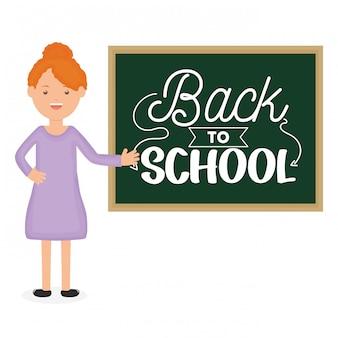 Młody żeński nauczyciel z chalkboard. powrót do szkoły