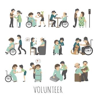 Młody zestaw wolontariuszy