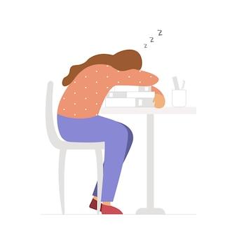 Młody zmęczony student śpi na stos książek