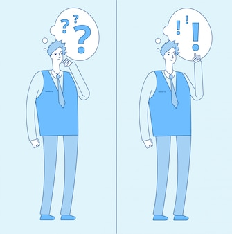 Młody zmieszany mężczyzna. myślący uczeń ze znakami zapytania i osoba z rozwiązaniem problemu. dylemat i zrozumienie