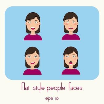 Młodych kobiet twarze odizolowywać na błękitnym tle.