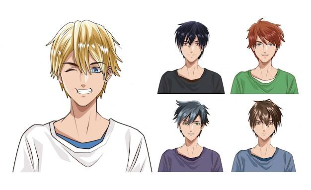 Młodych mężczyzn anime stylu charakteru wektorowy ilustracyjny projekt