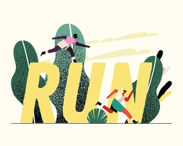 Młodych mężczyzn sportowców biegających w parku i ilustracji znaków słowa