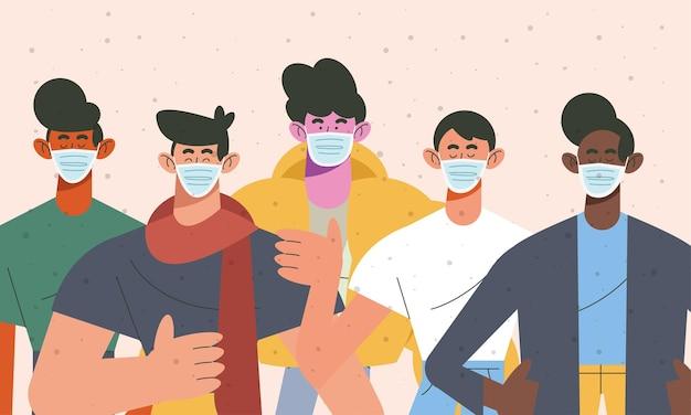 Młodych pięciu chłopców noszących medyczne maski ilustracja