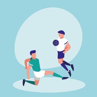 Młodzi człowiecy ćwiczy futbol odizolowywającego