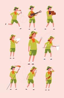 Młodzi harcerze. dzieci chłopcy i dziewczęta wyprawiają się na kempingi w konkretne mundury płaskie postacie. ilustracja wędrówki harcerskie, przygody postaci i podróże