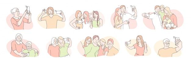 Młodzi i starsi ludzie, selfie zestaw koncepcji