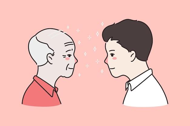 Młodzi i starzy mężczyźni wychodzą sobie na twarz