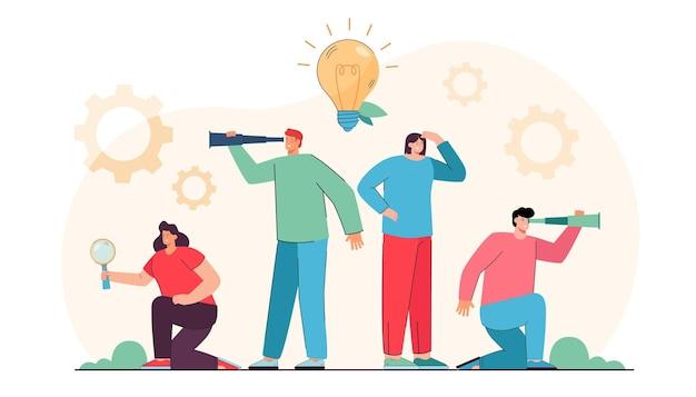 Młodzi kreatywni ludzie szukający nowych pomysłów i projektów. płaska ilustracja