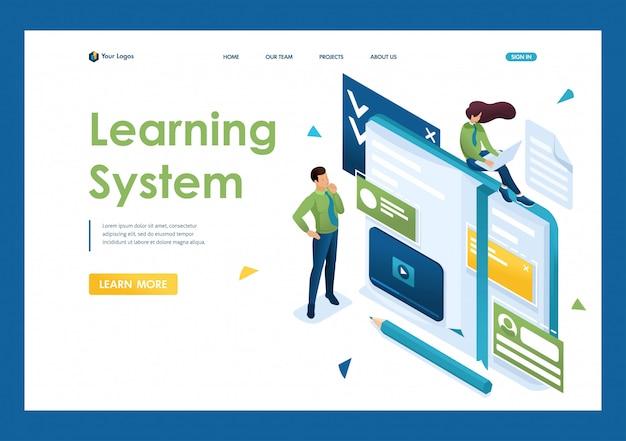 Młodzi ludzie angażują się w samokształcenie, szkolenia online. pojęcie nauczania ludzi. 3d izometryczny. koncepcje stron docelowych i projektowanie stron internetowych