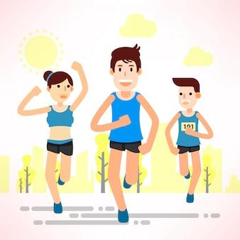 Młodzi ludzie biegają i trenują do sportu maratońskiego