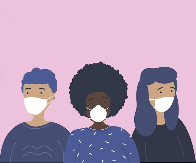 Młodzi ludzie chronieni przed zakażeniem koronawirusem. grupa nastolatków w maskach zapobiegawczych. koncepcja kontroli koronawirusa. ilustracja kreskówka płaski.