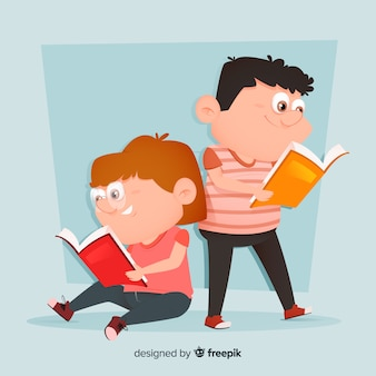Młodzi ludzie czyta ilustrację i uśmiecha się