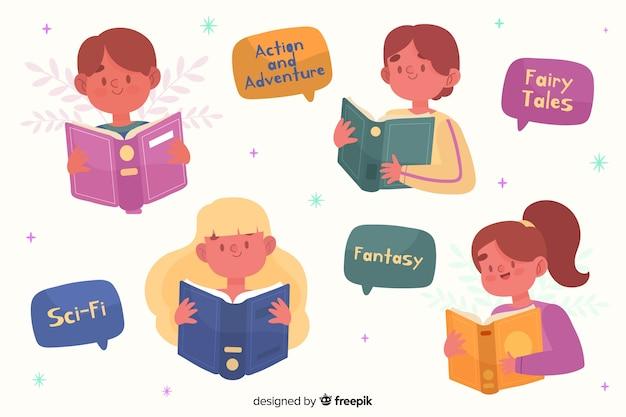 Młodzi ludzie czyta ilustracyjnego pojęcie