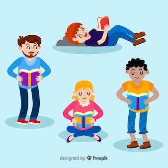 Młodzi ludzie czyta ilustracyjnego projekt