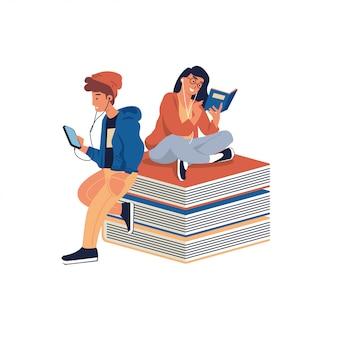Młodzi ludzie czytają książki i słuchają muzyki