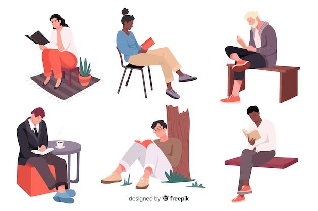 Młodzi ludzie czytający i relaksujący