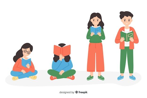 Młodzi ludzie czytający kolekcję książek