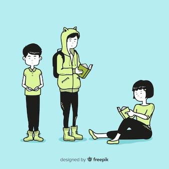 Młodzi ludzie czytający w koreańskim stylu rysowania