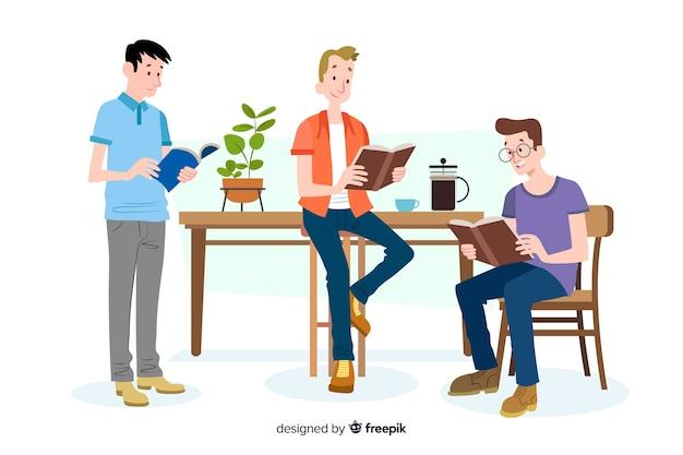 Młodzi ludzie czytający