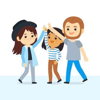 Młodzi ludzie dają piątkę
