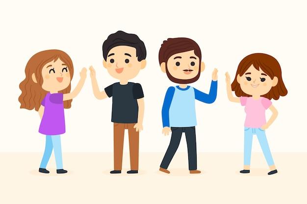 Młodzi ludzie dający piątkę